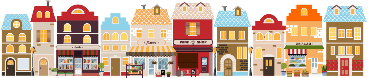 graphic design of 10 storefronts, featuring a flower shop, wine shop, book store, supermarket, and residential homes